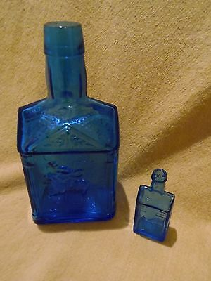 "Paul Revere  Cobalt Blue Syrup Bottle-7/3/4""-Plus Small Blue Wheaton House-Look!"