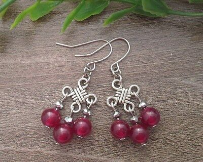 Dark Purple Fuchsia Jade And Silver On Chinese Lucky Knot Earrings ~ Feng Shui