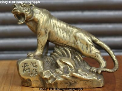 China Chinese Bronze Fengshui Ferocious Zodiac Year Tiger Tigers Animal Statue