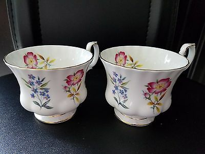 Set of 2 Royal Albert Derwent Bone China Coffee Cup Floral Made in England