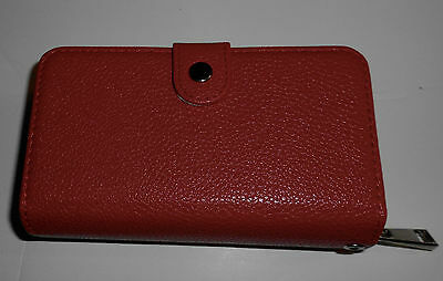 Womans Wristlet/Wallet/Cell Phone Holder in Red Faux Leather.