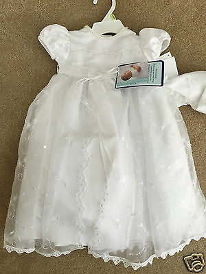 NWT Infant Christening Dress Gown Outfit Two-Piece Cap 0-3 months