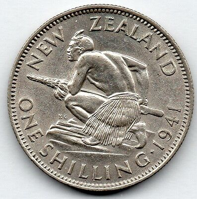 New Zealand 1 Shilling 1941 (50.0% Silver) Coin
