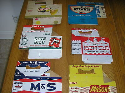 6 CARDBOARD CARRIERS.  drewrys falstaff 7up m&s mason,s milkys party time