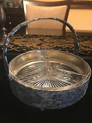 Antique 19thc Barbour Int'l Embossed Silver Plate & Glass Divided Serving Dish