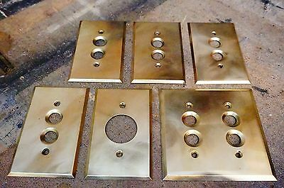 6 Antique Push Button Light Switch Plates Brass Electrical Salvage Sockets Cover