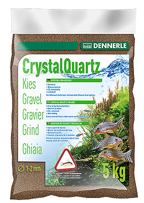 Dennerle Crystal Quartz Gravel Dark Brown 5kg Inert for Aquarium Fish Tank