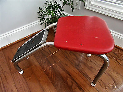 Vintage Metal Vinyl Padded Seat Shoe Shine Fitting Seat Stool Bench
