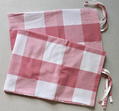 Ikea Emmie Ruta Pillow Shams / Cases with Ties  Set of Two Pink & White
