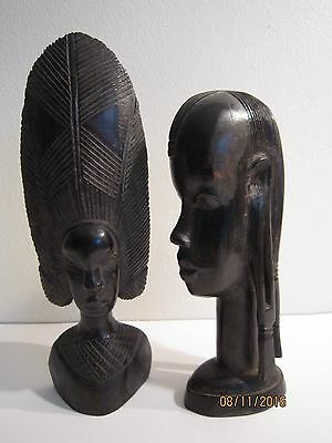 Antique/Vintage African Ebony Wood (2) Tribal Sculpture Woman & Warrior