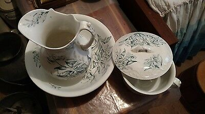 Vintage Orchard Wash basin, Pitcher and Chamber pot with lid