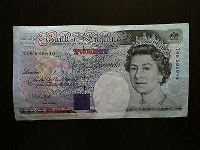 1991 Great Britain Bank of England 20 Pounds Note PMG Twenty Out Of Circulation