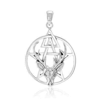 Pagan Wicca Deer Stag Pentacle .925 Sterling Silver Pendant by Peter Stone