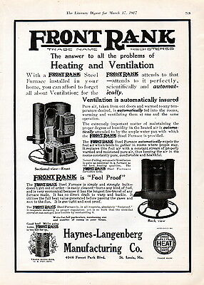 1917 Front Rank Steel Furnaces Ad -Automatic --z786