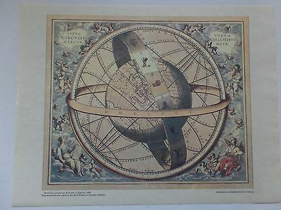 """13"""" x 10.5"""" Print Reproduction - Armillary Sphere by Andreas Cellarius, 1660"""