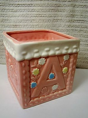Pink Baby Nursery Planter Block for Girl - Shower/ Gift/ Nursery Caddy /Decor