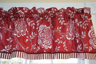 Red White Floral Waverly Trim Floral Toile Valance 17 X 54