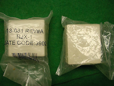 TWO (2) TELEPHONE Surface Mount Jacks Ivory Modular 4-Conductor RJ11Block Cover