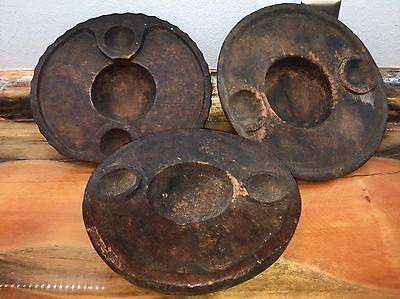 Luzon Philippines Ethnographic Tribal Wooden Food Bowls Set 3