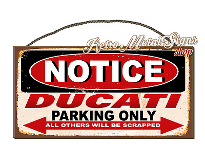 Notice Ducati Motorcycles   Parking Vintage Retro Wall Hanging Plaque Sign
