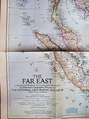 """1952 National Geographic HUGE 29 X 40"""" Far East Wall Map v good cond."""