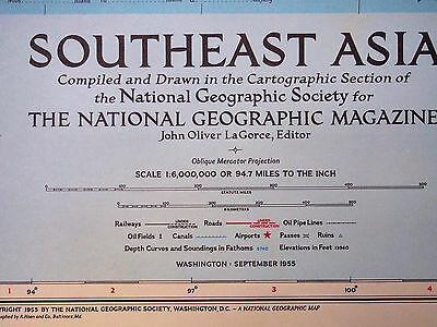 """1955 National Geographic vintage SOUTHEAST ASIA Wall Map LARGE 29 x 34"""" MINT"""