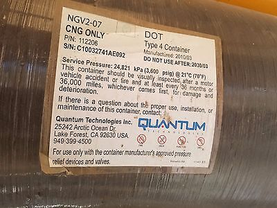 Quantum Type 4 - 21 GGE CNG Tank, valve, and brackets - Used