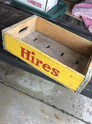 Vintage SQUIRT VERNOR's RED&YELLOW WOODEN Soda CRATE HIRE's CRUSH Buffalo,NY