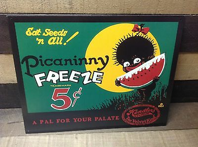 PICANINNY FREEZE 5 CENTS ICE CREAM Sign Tin Vintage Garage Bar Decor Old Rustic