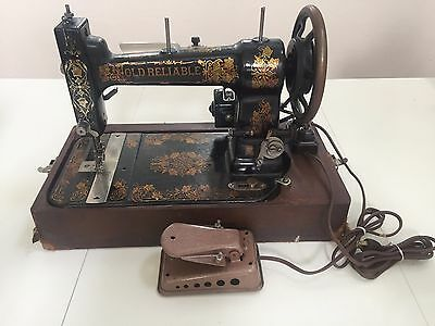 Antique Old Reliable Hand Cranked Electric Sewing Machine ~ Htf Rare