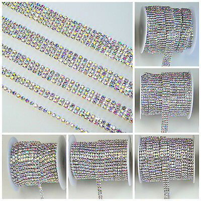 Iridescent Rainbow Multi Rhinestone Trim Metal Chain ss12 Silver 1 2 3 4 5 Row