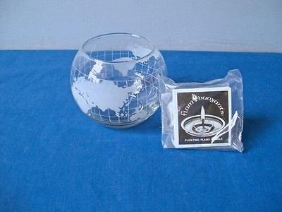 Nestle Nescafe Coffee World Globe Frosted Etched Glass Floating Candle Bowl