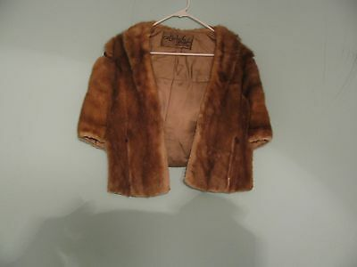 Vintage Real Genuine Mink Fur Shawl Stole Shrug Cape Formal Wrap