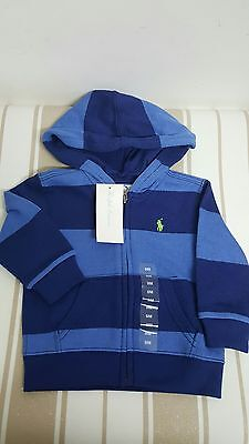 Boys POLO RALPH LAUREN sweat zipped thru top size 9 months BNWT