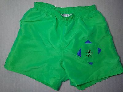 Rare Vintage Op Board Shorts Surf Swim Trunks Iridiscent Neon Green Sz S/m - Euc