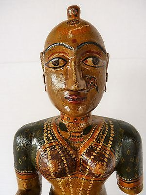 "Antique Vintage 19"" Wood Hand Crafted Painted Hindu India Gangaur Doll Statue"