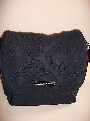 Petunia Pickle NAVY BLUE QUILTED Bottom Boxy Backpack BABY Diaper Bag CHANGE PD