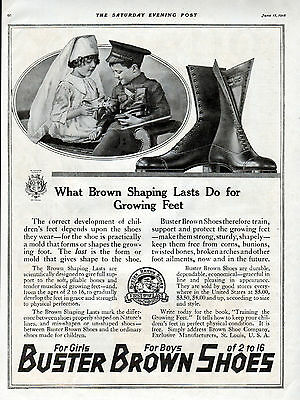 1918 Buster Brown Shoes Ad -Shoes Properly Shape Growing Feet ---t1038