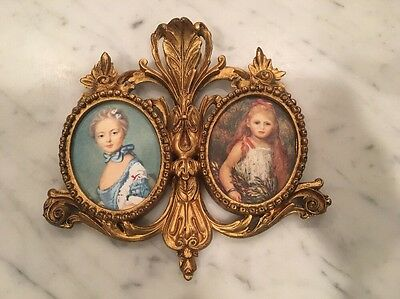 Vintage Italian Ornate Gold Carved Wood Gesso Double Picture Frame Italy