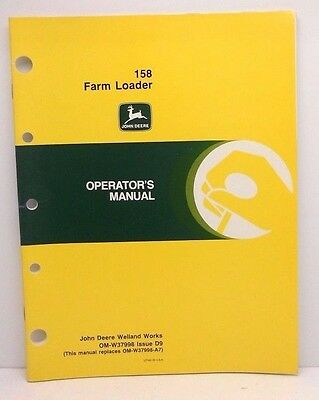 John Deere Farm Loader 158, Operator's Manual, NEW