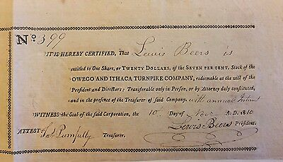 1810 Owego & Ithaca Turnpike Company Stock Certificate New York 207 Years Old