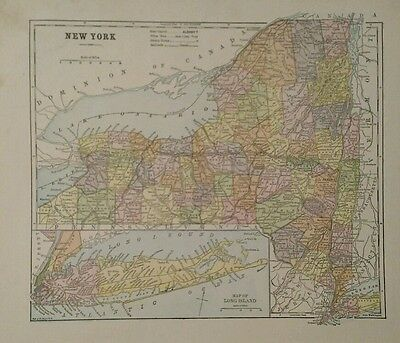 Antique Original 1898 Map of New York State