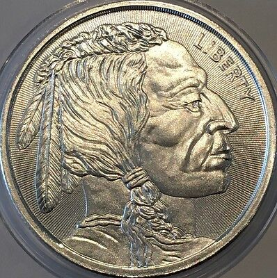 Buffalo & Indian Cheif Radial Lines Collectible Coin 1 Troy Oz .999 Fine Silver