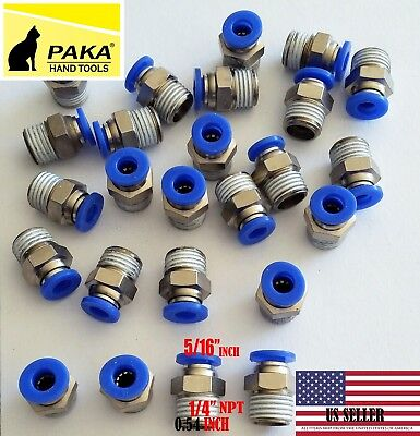 "20X Male Straight Connector Tube OD 5/16""(8mm) X  NPT 1/4 PU Air Push In Fitting"