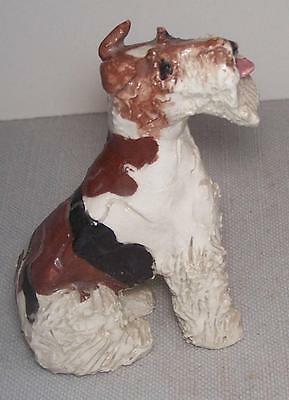 Vintage Little Airdale Dog Figurine Clay Sculpted Charmer