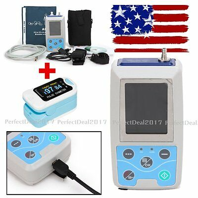 FDA Ambulatory Blood Pressure Patient Monitor 24h NIBP Holter ABPM50,+Oximeter