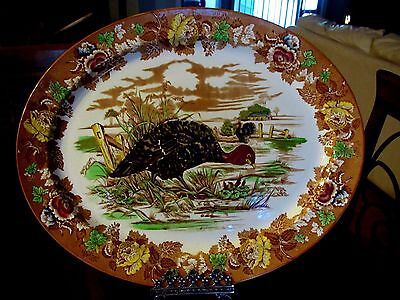 VTG Enoch & Wood's Burslem England Thanksgiving Turkey Platter LARGE