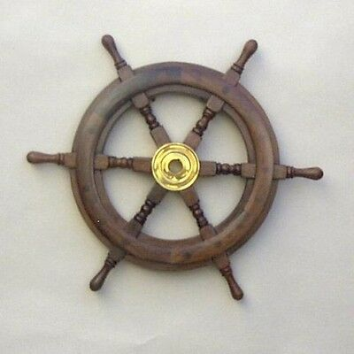 "15"" Nautical Wooden Ships Wheel With Brass Hub"