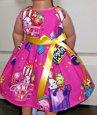 """Doll Clothes-Handmade-American Girl Dolls-Fits18""""-Shopkins on Pink Dress."""
