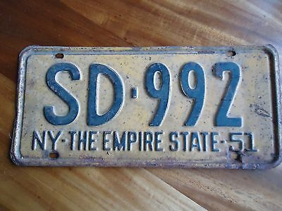 Vintage New York License Plate 1951 SD 992 NY The Empire State